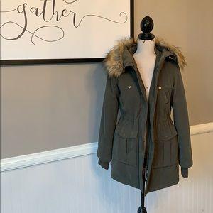 a.n.a Army Green Drawstring Jacket w Faux Fur Hood